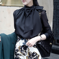 Blusas Femininas women's autumn and winter white chiffon shirt long sleeve black Puff Sleeve bow Blouse Tops