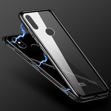 Magnetic Adsorption Phone Case For Xiaomi Redmi Note 5 Aluminum Metal Bumper Tempered Glass Capa Mi8 8 SE Flip Cases