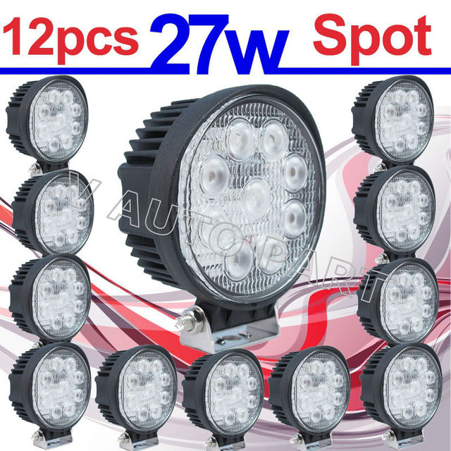 12X IP67 27W LED work Spot Lamp Light Truck Trailer Off Road 4WD 4X4 Boat Pencil Round shape