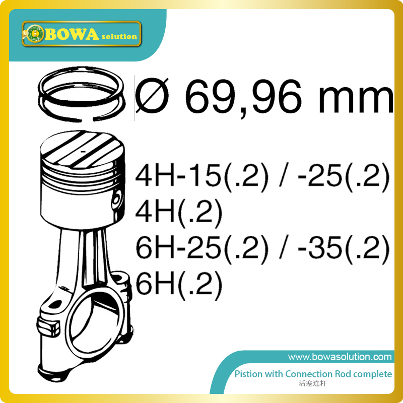 B6 Dia.70mm  high precision piston with connection rod set for bitzer 4H and 6H compressor s4 2cylinder and small 4cylinders dia 41 piston with connection rod complete for bitzer semi hermetic compressor