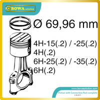 B6 Dia.70mm high precision piston with connection rod set for bitzer 4H and 6H compressor