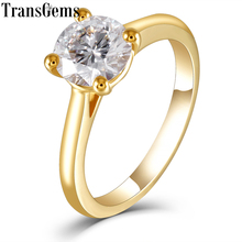 TransGems Solitaire Set 18K 750 Yellow Gold 1ct 6.5mm F Color Moissanite Engagement Ring for Women Wedding