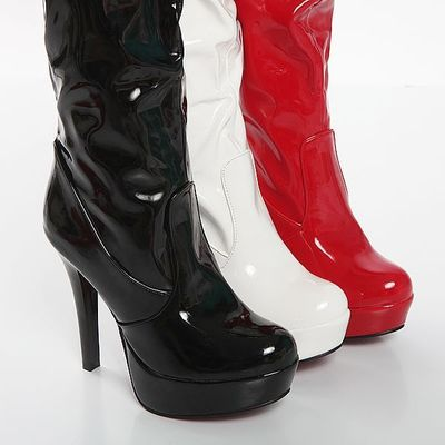 The New Pole Dancing Boots Bright Patent Leather Higher Heel Knight Boots Waterproof Side Zip Knee Boots Plus Size 35-43 Em4133