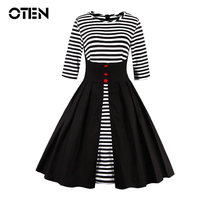 Striped Dress Womens Casual Half Sleeve Patchwork Summer Ladies Elegant Vintage Rockabilly Swing Vestido Ropa De
