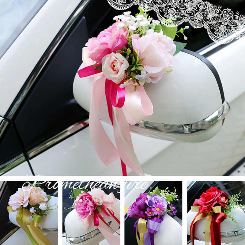 New Creative Lovely Wedding Car Decoration Flower Door Handles Rearview Mirror Decorate Artificial Flower LXY9 AU07