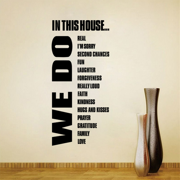 Aliexpresscom  Buy Removeable Large Wall Decals Quotes House - House rules wall decals