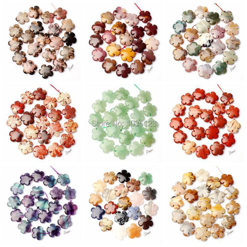 Alta Calidad 20mm Natural 12 Material Piedra Moneda Flores Forma - Bisutería - foto 1