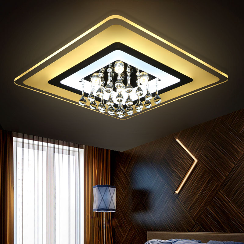 Led Crystal LED Ceiling lights Fixture Indoor Lamp lamparas de techo Surface Mounting Ceiling Lamp crystal celling lamp noosion modern led ceiling lamp for bedroom room black and white color with crystal plafon techo iluminacion lustre de plafond