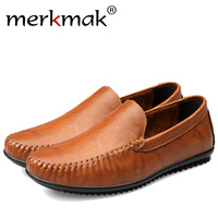 Merkmak Luxury Brand Men Loafer Shoes 2016 Fashion Casual Genuine Leather Sapatos Masculino Comfortable Big Size