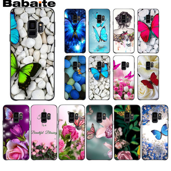 Red butterfly white stone roses flower Silicone Phone Case For Samsung Galaxy s9 s8 plus note 8 note9 s7 s6edge funda Babaite image