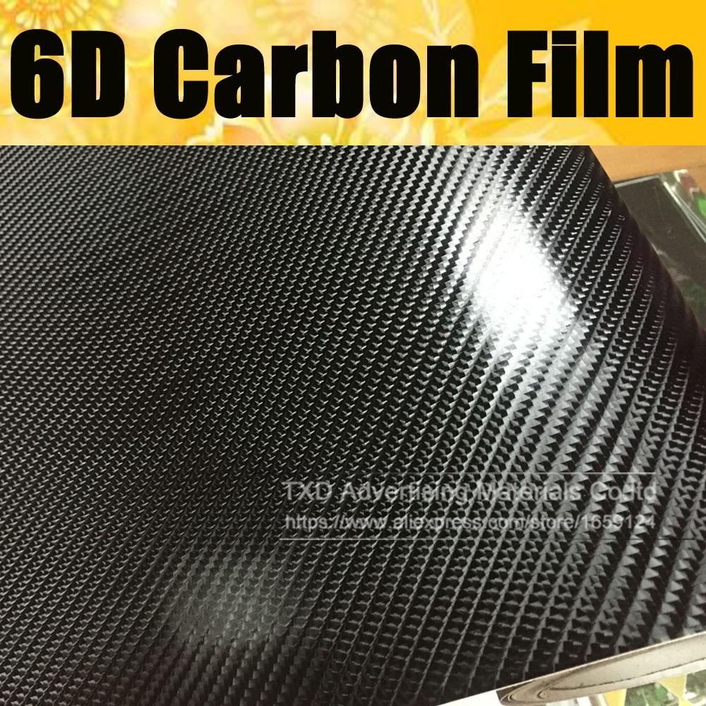 """*60/""""x60/"""" 2D Black Gold High Gloss Carbon Fiber Vinyl Wrap Sticker Air Release"""