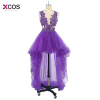 Hi Low Crystal Beaded Prom Dress Tulle Short Gront Long Back Formal Party Scoop Homecoming Ball