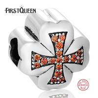 FirstQueen Authentic 925 Sterling Silver Cross Charm Bead Fit Original Bracelet Necklace DIY Religion Sterling Silver
