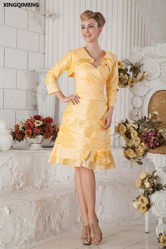 Yellow Cocktail Dresses With Jacket Knee Length Elegant Cocktail
