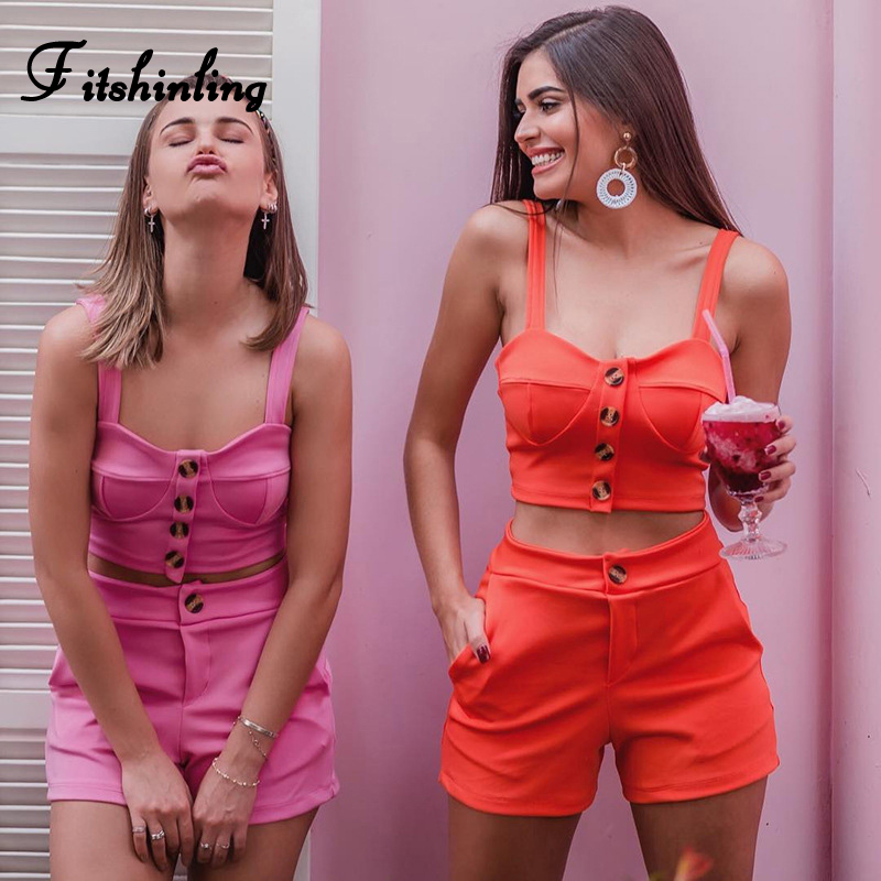 Fitshinling Buttons Up Biker Shorts 2 Piece Set Women Summer Clothes 2019 Sexy Crop Top Orange Pink Matching Sets Street Outfits