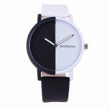 Zegarki Meskie Новый Для женщин часы моды творческие черно-белый Цвет Циферблат Повседневное пару часов Для мужчин простой стиль кожа наручные часы