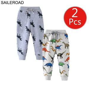 Image 2 - SAILEROAD 2 adet Karikatür Hug Me Dinozor Pantolon Çocuk Erkek Sonbahar Giyim Çocuk 7 Yıl Çocuklar Sweatpants Sıcak Pantolon erkek Pantolon