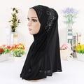 10 colores Hijab Musulmán de Las Mujeres pañuelo Musulmán con lentejuelas envuelto Bufanda Cabeza Sombrero de Señora de La Manera Bufanda hiyab interior