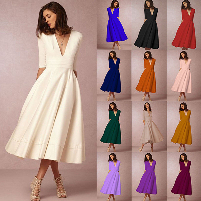 Party Swing Vintage Long Plus Size Dress Womens Prom UK Ladies-in Dresses  from Women\'s Clothing & Accessories on Aliexpress.com | Alibaba Group