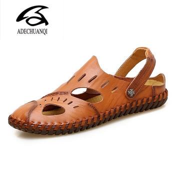 Summer Sandals Men Leather Classic Roman Sandals  Slipper Outdoor Sneaker Beach Rubber Flip Flops Men Water Trekking Sandals