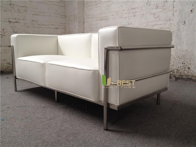 white real leather LC3 sofa loveseat sofa (2)