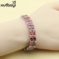 New Fashion Silver Color Bracelet For Women Classy Red Created Garnet Adjustable Link Chain Bracelet Length
