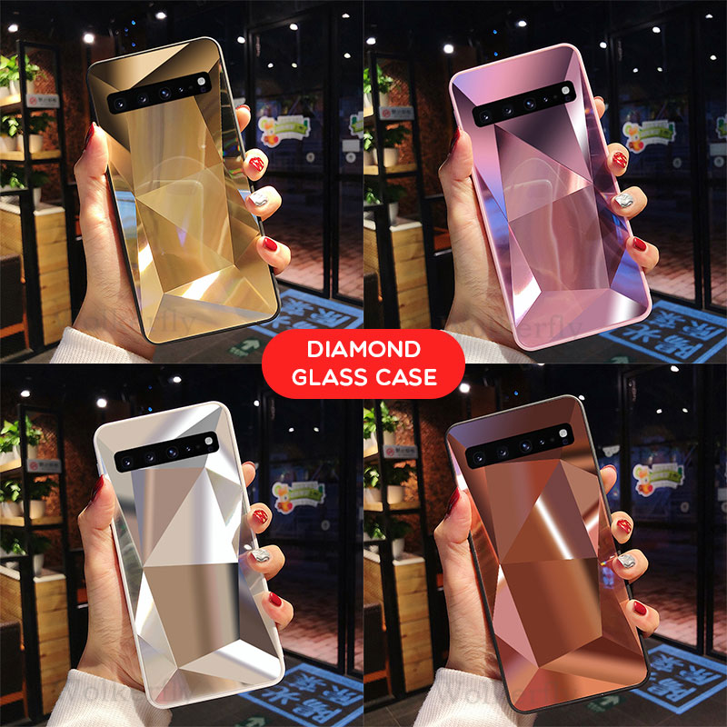 Mirror Diamond Case For Samsung Galaxy A50 A70 A30 A20 A10 M10 M20 M30 S10E S8 S9 S10 Plus J6 J4 Prime A8 A6 Plus A7 2018 Cover in Half wrapped Cases from Cellphones Telecommunications