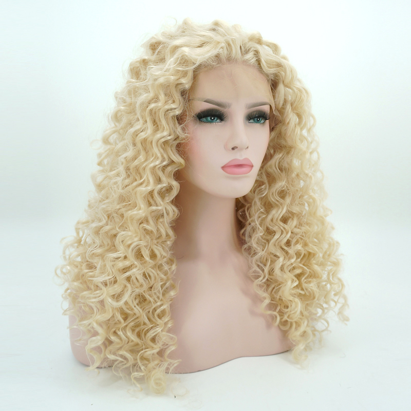 Synthetic None-lacewigs 24 Blonde Curly Daily Hair Women Long Lace Front Synthetic Wig Heat Resistant H793119