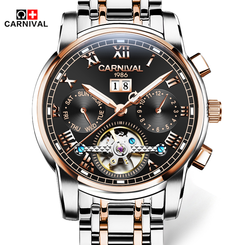 Relogio Masculino 2016 Carnival Men s Luxury Brand Military Mechanical Watches stainless steel Skeleton Watch Relojes