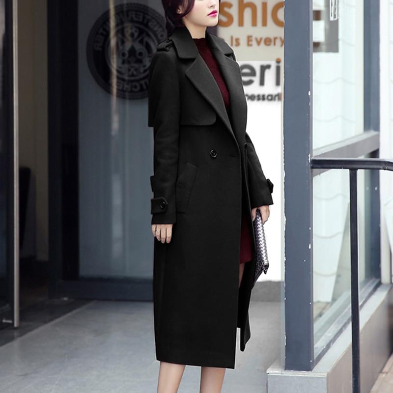 RUGOD 2018 abrigo de invierno con cinturón mujeres cálido abrigo largo de lana de las mujeres abrigo de Cachemira de la moda europea chaqueta Outwear Casaco feminino - 6