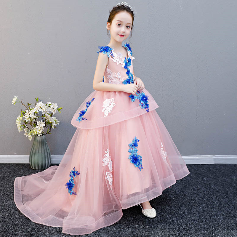 Pink Color 2018Luxury Long Tailing Princess Flower Royal Mermaid Dress Party Ball Gown Holy Communion For birthday Wedding dressPink Color 2018Luxury Long Tailing Princess Flower Royal Mermaid Dress Party Ball Gown Holy Communion For birthday Wedding dress