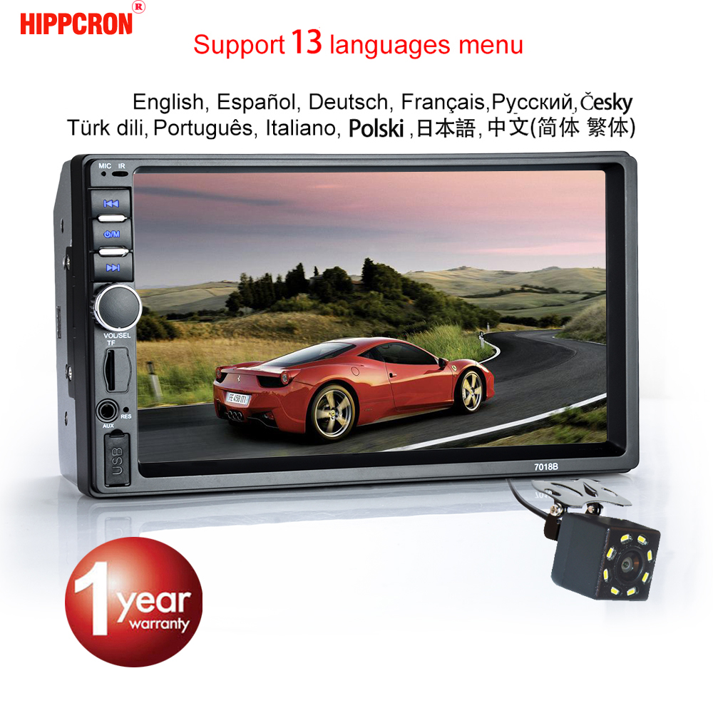 HIPPCRON Touch-Screen Camera Fm-Radio Bluetooth Car Mp5 Stereo Din 2 HD With 12V 7-Sd-Usb