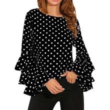 Women Blusas Polka Dot Print Flare Sleeve  Shirts O-neck Long Sleeve Chiffon Blouse Tops Korean White Black Blouse ethnic plunging neck long sleeve print blouse for women