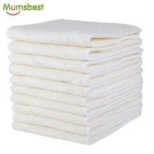 [Mumsbest] 10 шт., 4 слоя бамбука и вкладыши из микрофибры для детских тканевых подгузников, многоразовые моющиеся вкладыши для карманных тканевых подгузников