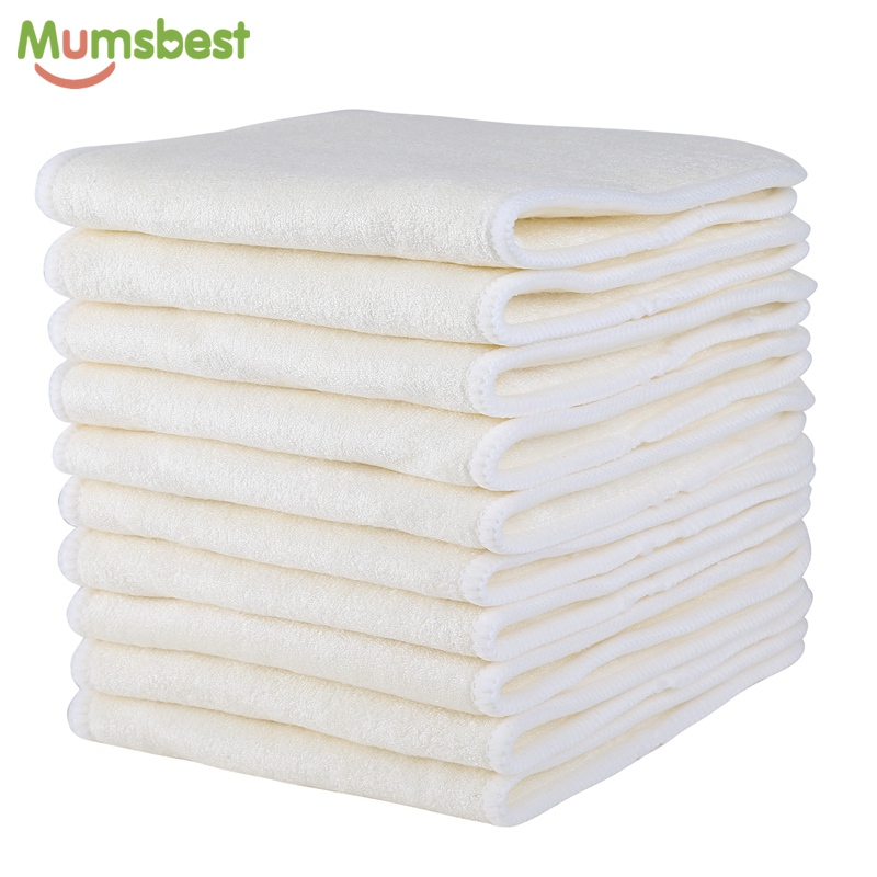 купить [Mumsbest]10Pcs 4 Layers Bamboo & Microfibre Inserts For Baby Cloth Diaper Cover Reusable Washable Liners For Pocket Cloth Nappy по цене 1621.74 рублей