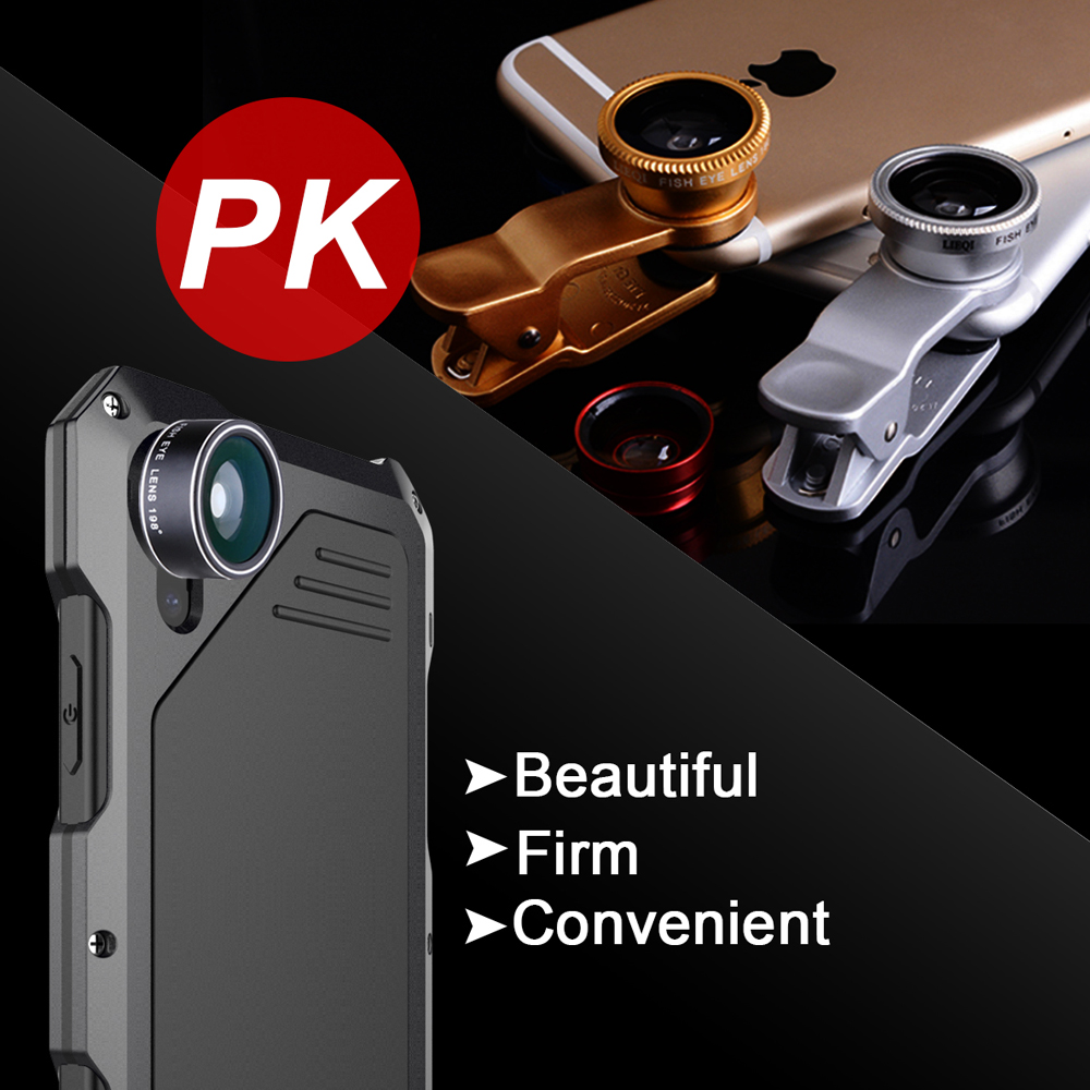 Ascromy For IPhone X Lens Kit Case Fisheye Shockproof Aluminum Metal Bumper Cover For iPhone 7 Plus 8 6 6S 5 S 5S SE Accessories (9)