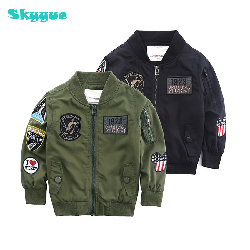 kids coat 2018 Autumn Baby boy Jacket Army Green Flying toddler boy coat Cartoon Animal Embroidery Boy baseball jacket цена