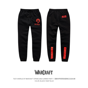 Image 1 - TEE7 Mens Sweatpants Game WOW Tribe Forever Emblem Cotton Casual Horde Cosplay Costume Male Black Printed High Quality Trouser