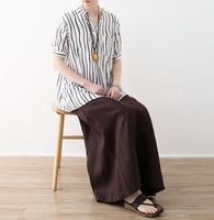 Cotton Linen Women 2018 Summer New Cool Style Art Mori Girl Loose Casual Stripe Print V Neck Shirt Soft Breathable Shirt