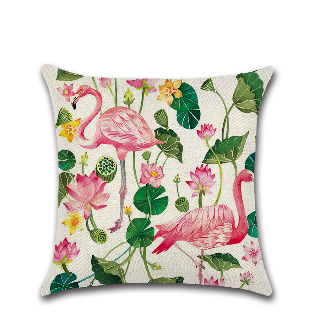 Pink Flamingo birds plant flowers pillows cases throw Cushion Cover sofa chair shop office home party decorations gift