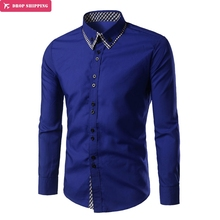 Brand 2018 Fashion Male Shirt Long-Sleeves Tops Classic Checkered Cloth Decoration Mens Dress Shirts Slim Men