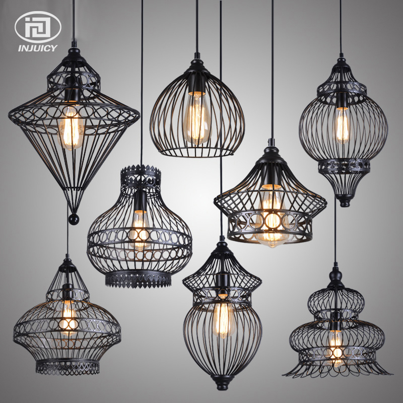 Vintage Nordic Iron Cage Pendant Lights LED E27 Edison Bulb Pendant Ls Loft Cafe Bar Restaurant Decorative Hanging Lamps loft iron pendant light indutrial vintage loft bar cafe restaurant nordic country style birdcage pendant lights hanging lamp