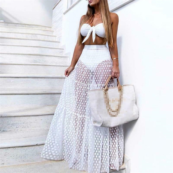 Women Mesh Sheer Maxi Skirt Wrap Skirt Beach Tulle See Through Dress Beachwear Swimwear Bikini Wear Cover Up Lace Crochet Dress