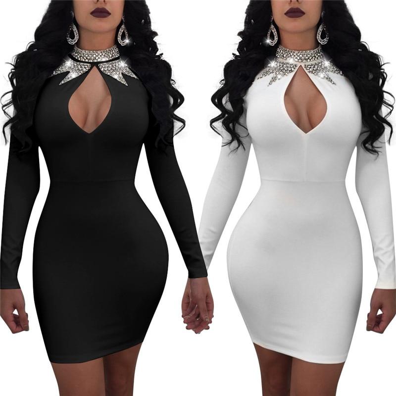 Adogirl 2018 Spring New Fashion Sexy Turtleneck Key Hole Sequins Long  Sleeves Bodycon Mini Club Dress ... 1e521f40f2b2