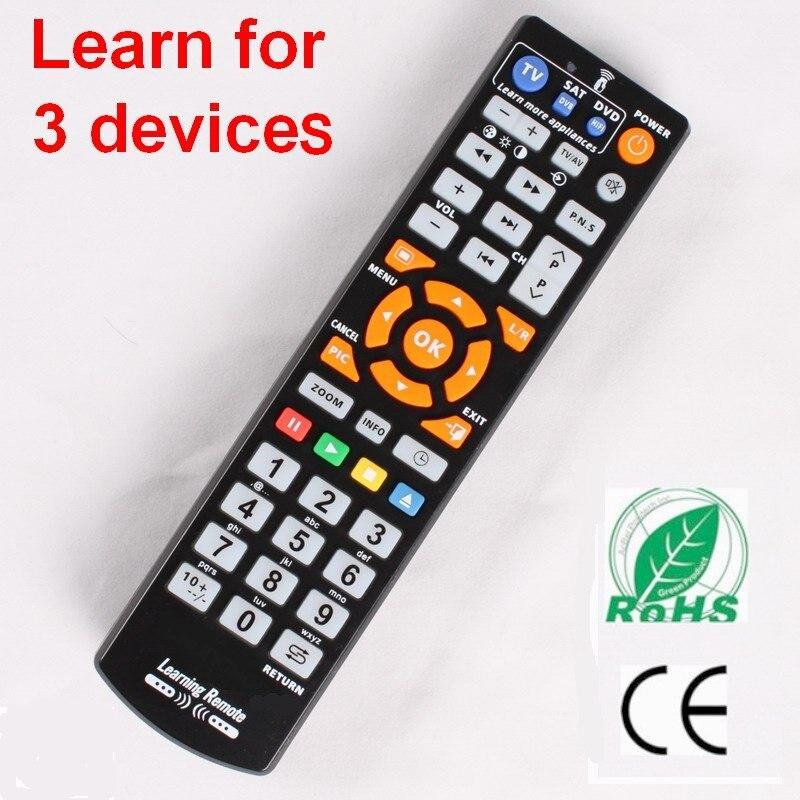 אוניברסלי חכם שלט רחוק עם ללמוד פונקציה, 3 ב 1 בקר עבודה עבור 3 מכשירים, טלוויזיה STB DVD SAT DVB HIFI טלוויזיה תיבה, L336