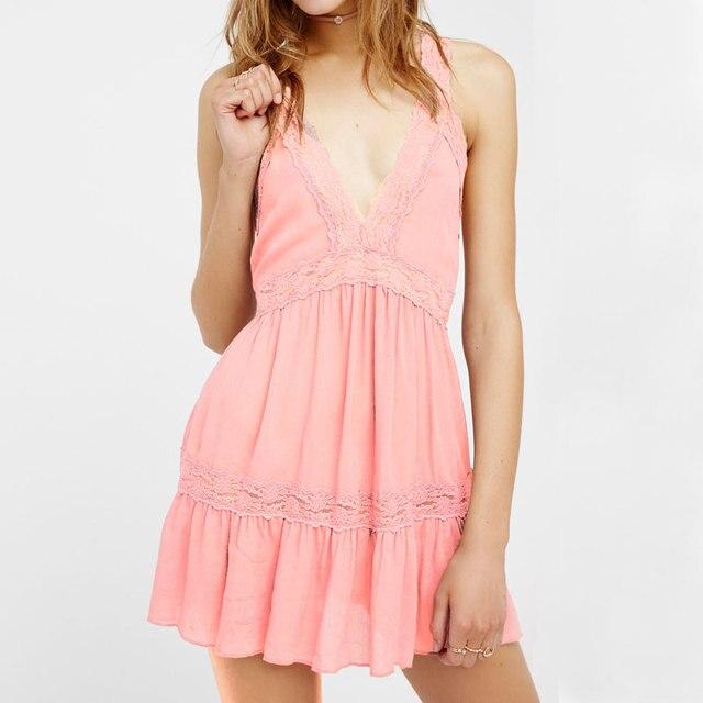 253391ccda9 2017 Slip Kleid Tiefe V-ausschnitt Backless Reizvolle Mini Patchwork Spitze  Aussehen der Liebe Sommer