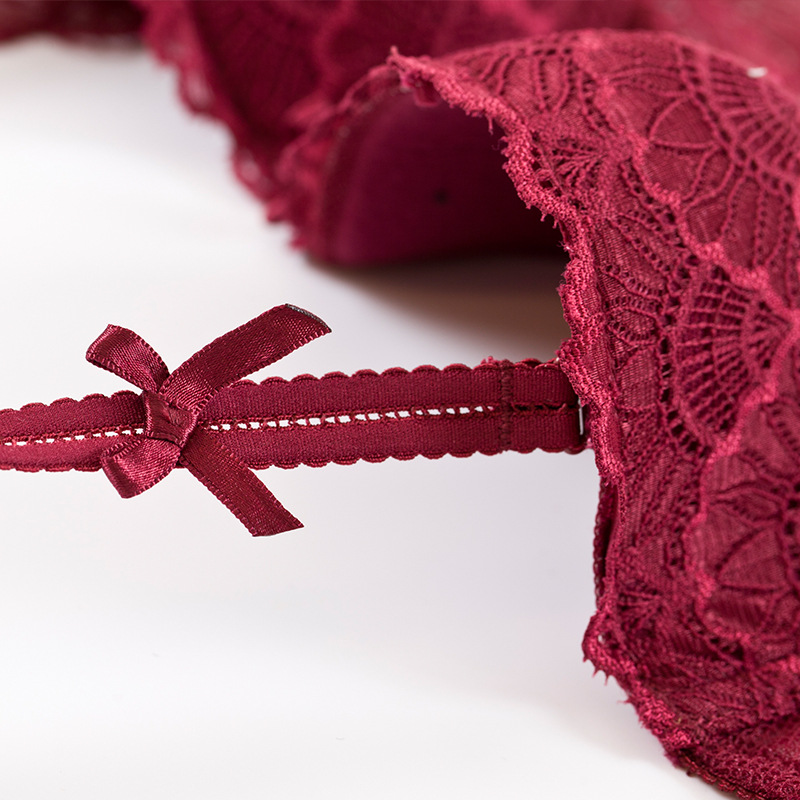 5d5c1e2523 ATTENDRE French Push Up Bras Half Cup Balconette Thin Cotton Pad Underwire  Hollow Flower Lacy Lace Lounge Bra Set Sexy Lingerie -in Bra   Brief Sets  from ...