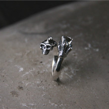Skeleton Cocktail Rings 925 Sterling Silver 2 Layer Open Skull Head Claw Biker Rings Men Punk Gothic Jewelry Gifts