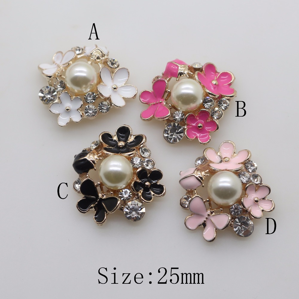 Fashion new 10pc 25mm flower flat back golden alloy for Decorative buttons for crafts