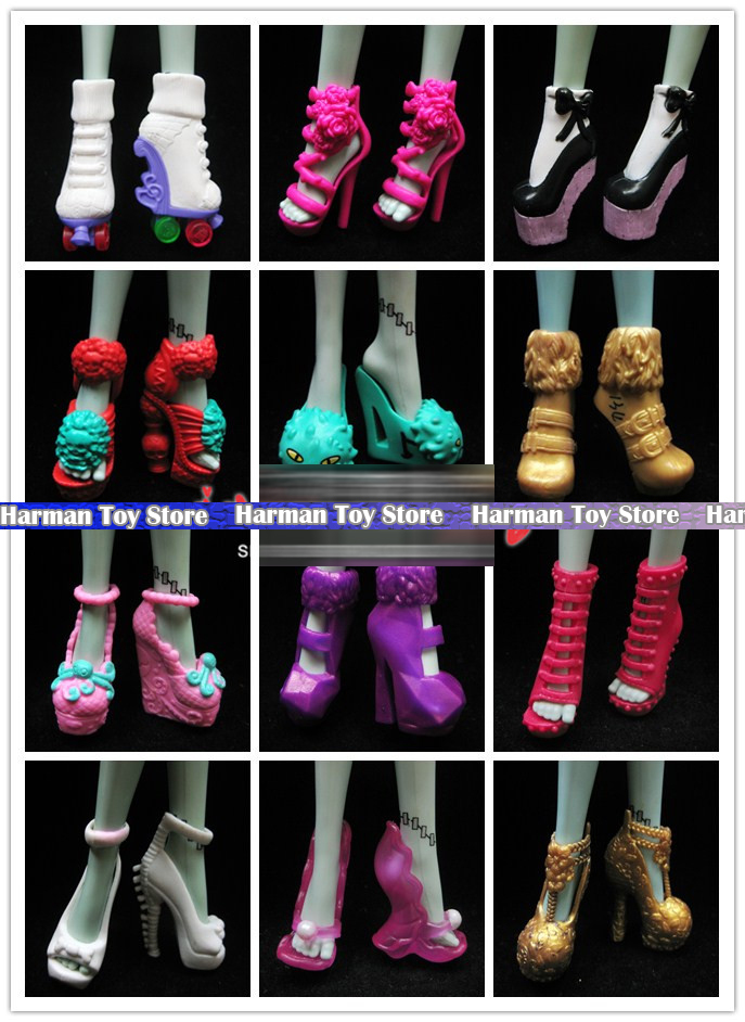 8 Pairs Lot Fashion Shoes For Monster Dolls Beautiful Mixed Style Shoes Random sent Doll